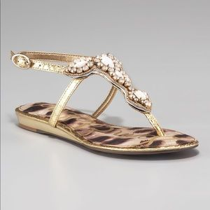 Sam Edelman Ross Beaded Sandal Gold Jeweled 8.5